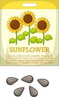 sementes de girassol com embalagem