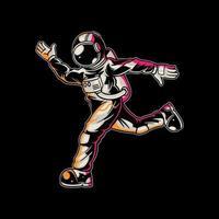 astronauta correndo no espaço vetor