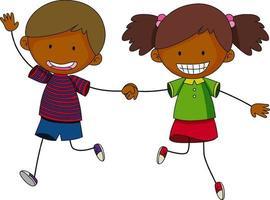 doodle de personagem de desenho animado de crianças isolado vetor