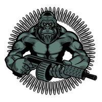 ilustração em vetor de macaco selvagem com metralhadora em estilo retro. gorila zangado colorido segurando armas com isolado no fundo branco. conceito de animais selvagens em estilo cartoon. design de t-shirt