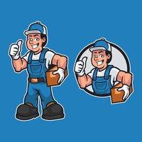 carpinteiro amigável está vestido com roupa de trabalho e carregando uma madeira enquanto dando um polegar para cima isolado sobre fundo azul. tema do trabalhador dos desenhos animados da mascote. ilustração de desenho vetorial desenhado à mão