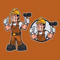 homem dos desenhos animados faz-tudo ou construtor vestindo roupas de trabalho, segurando um martelo e dando polegares para cima. trabalhador de manutenção de construção ou mascote de personagem diy em estilo cartoon. ilustração vetorial vetor
