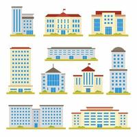 conjunto de ícones de design plano de vetor de construção de cidade. escola, banco, escritórios do governo, loja, centro de escritórios contemporâneo e prédio da prefeitura isolado no fundo branco. ilustração dos desenhos animados