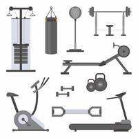conjunto de ícones lisos do vetor de ferramentas de fitness. equipamento de esporte em estilo cartoon. acessórios de estilo de vida ativo. tema de ferramentas de levantamento de peso de fitness ou ginásio. treino, musculação isolado no fundo branco