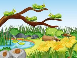 cena de jardim com muitos gafanhotos vetor