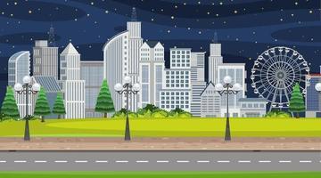 cena da cidade à noite com muitos edifícios ao longo da estrada vetor