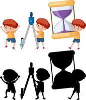 conjunto de um menino segurando diferentes ferramentas matemáticas com uma silhueta vetor