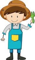 pequeno jardineiro doodle personagem de desenho animado vetor
