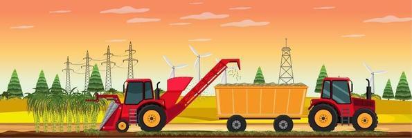 colheita da cana-de-açúcar na hora do pôr do sol vetor