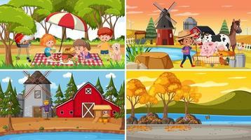 conjunto de diferentes cenas da natureza em estilo cartoon vetor