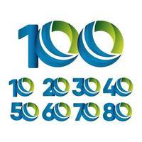 100 anos de comemoração de aniversário ilustração de design de modelo de vetor azul verde