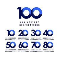 Ilustração de design de modelo vetorial azul celebração de aniversário de 100 anos vetor