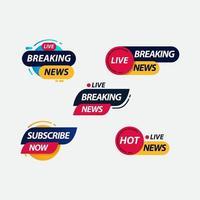 notícias de última hora rótulo de tv ao vivo logotipo modelo vetor ilustração