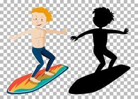 personagem de desenho animado de verão surfando vetor