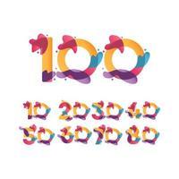 Ilustração de design de modelo vetorial fluxo de celebração de aniversário de 100 anos vetor