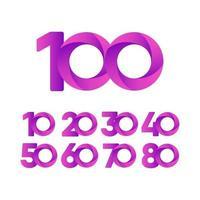 100 anos de comemoração de aniversário de ilustração vetorial roxo modelo vetor