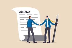 sucesso empresário aperto de mão com cliente segurando caneta pronta para assinar contrato vetor