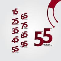 55 anos excelente ilustração de design de modelo vetorial de aniversário vetor