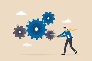 fluxo de trabalho de negócios, liderança para impulsionar a equipe e iniciar o conceito de processo de trabalho de produtividade e eficiência vetor