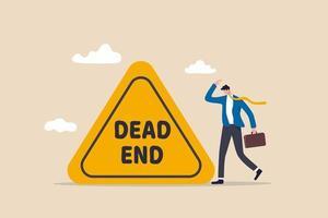 negócio ou carreira sem saída, nenhuma solução ou outra solução alternativa para obstáculo de negócios, risco de luta no mesmo trabalho por anos de conceito