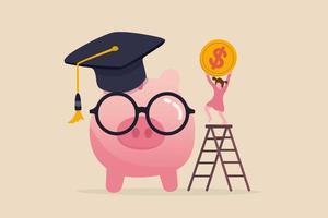 escola ou fundo de educação, planejamento financeiro para escola infantil ou orçamento da faculdade e conceito de bolsa de estudos vetor