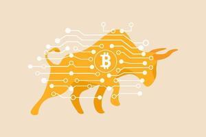 Bitcoin crypto currency bull market, criptomoeda atingindo novo conceito de recorde vetor