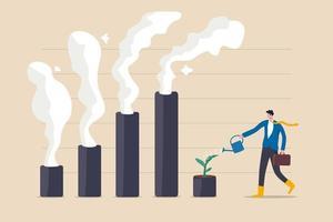 crise climática e política ambiental, ESG ou conceito de problema de ecologia, empresário líder regando a planta de mudas no gráfico de barras com poluição de fumaça subindo. vetor