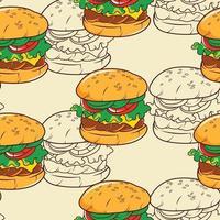 padrão sem emenda de hambúrguer vetor