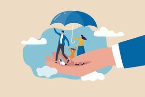 seguro de vida, proteção familiar para garantir que os membros terão suporte financeiro e conceito de cobertura de risco vetor