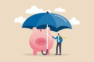 seguro e proteção de poupança de finanças em crise econômica, investimento em segurança ou conceito de portfólio para todos os climas vetor