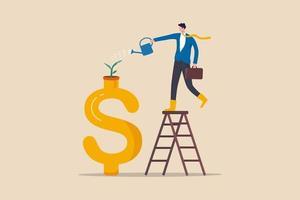 investimento em crescimento, poupança e prosperidade financeira, aumento de dinheiro ou lucro com o conceito de negócio em crescimento vetor
