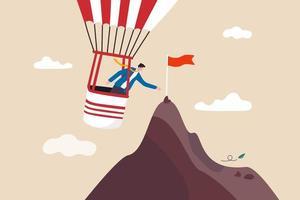 maneira mais eficiente de atingir a meta de negócios, ferramentas, assistência ou atalho para ajudar a atingir o conceito de destino ou destino vetor