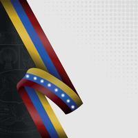 ilustração da bandeira da venezuela com o brasão de armas ao fundo vetor