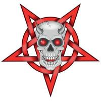 desenho detalhado de caveira maligna e pentagrama entrelaçado vetor