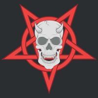 desenho de crânio maligno e pentagrama interligado vetor
