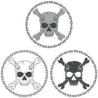 desenho vetorial de caveira demoníaca com ossos rodeados por correntes, em preto e branco.