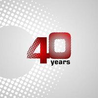 Ilustração de design de modelo vetorial de aniversário de 40 anos vetor