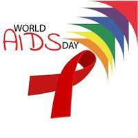 ajuda fita vermelha de conscientização. conceito do dia mundial da aids. ilustração vetor