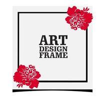 moldura elegante e minimalista com flor vetor