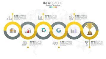 infográfico elemento de cor amarela de 6 etapas com diagrama gráfico de círculo, design gráfico de negócios. vetor