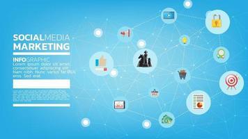 conceito de modelo de marketing de mídia social com emoji, página da web, ícones de pesquisa, bate-papo e gráfico com smartphone vetor