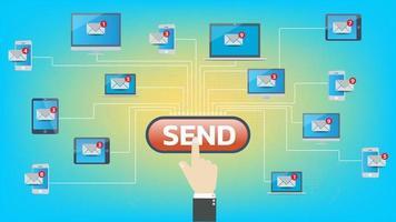 marketing de email. tecnologia de comunicação de conceito de internet, mensagem e mídia e web vetor