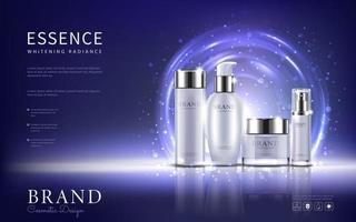 definir anúncios de cosméticos, design de pacote branco sobre fundo azul claro, ilustração vetorial. vetor