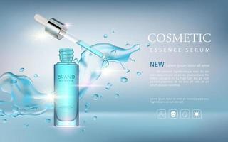 banner editável de anúncio cosmético de soro realista vetor