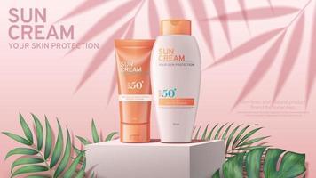 banner editável de anúncio de protetor solar realista com folhas tropicais vetor