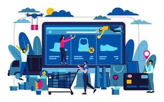 conceito de negócio de design plano moderno para compras online