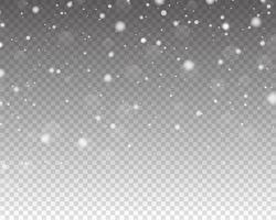neve caindo realista. efeito de sobreposição de neve. neve caindo isolada vetor