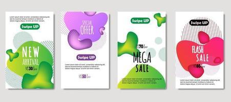 fluido abstrato dinâmico móvel para banners de venda. design de modelo de banner de venda, conjunto de oferta especial de mega venda. design para folheto, cartão-presente, pôster na parede, livro de capa, banner, mídia social vetor
