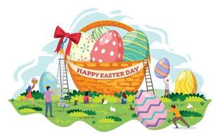 decoração de cesta de ovos de páscoa na celebração do dia de páscoa vetor