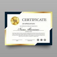 certificado de modelo de apreciação com luxo e padrão moderno, diploma, ilustração vetorial vetor
